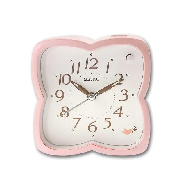 【SEIKO 精工】櫻花造型 滑動式秒針 數字刻度 夜光照明 貪睡鬧鈴 指針鬧鐘(粉色 / QHP009P)
