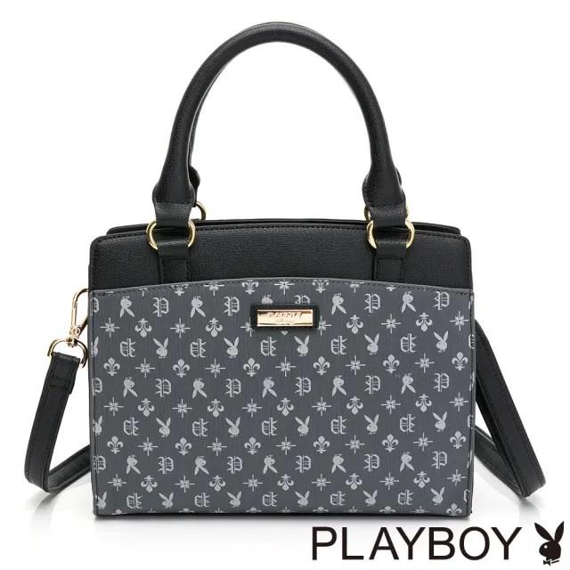 【PLAYBOY】手提包附長背帶 Iris系列(黑色)