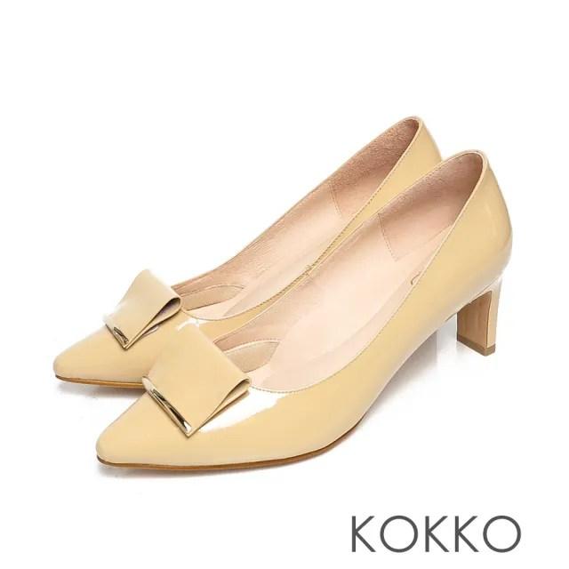 【KOKKO 集團】優雅品味小方頭牛漆皮舒壓鞋墊扁跟鞋(乳酪黃)
