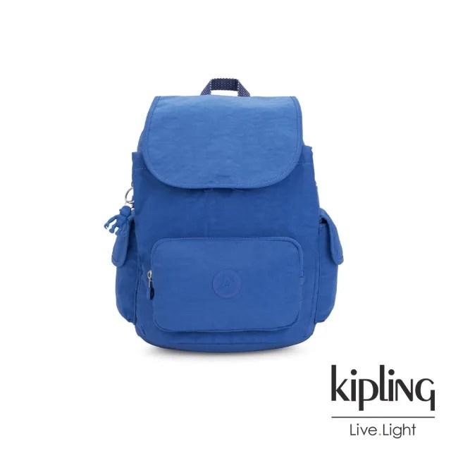【KIPLING】經典海洋藍拉鍊掀蓋後背包-CITY PACK S