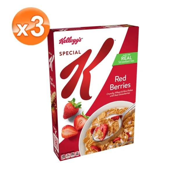 【家樂氏Kelloggs】Special K草莓香脆麥米片331gX3(早餐麥片/穀片)
