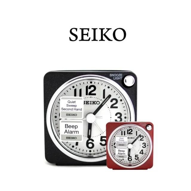 【SEIKO 精工】QHE118 輕盈小巧方形數字夜燈顯示鬧鐘時鐘