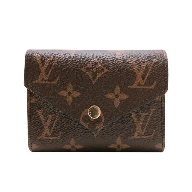 【Louis Vuitton 路易威登】Victorine 帆布印花三折金釦信封短夾(M62472-咖)