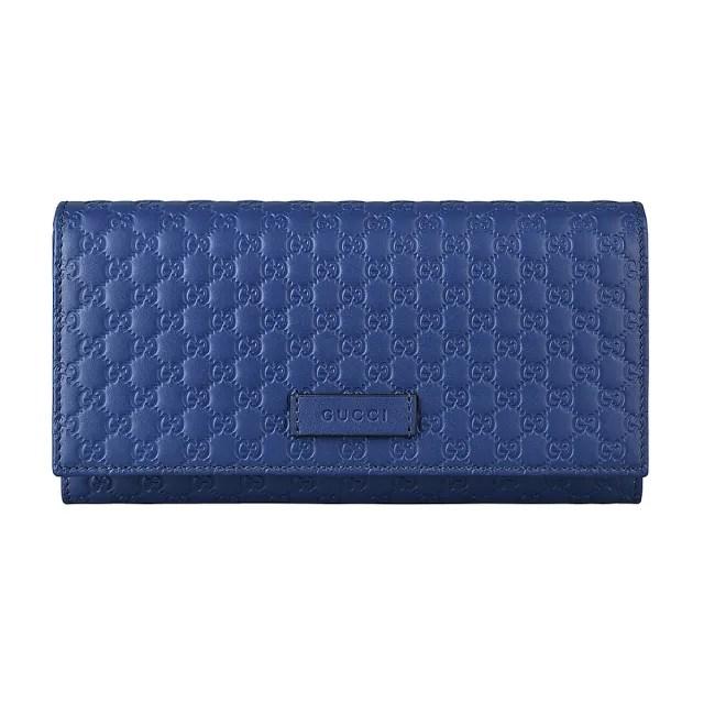 【GUCCI 古馳】GUCCI經典Guccissima系列雙G壓紋LOGO牛皮13卡扣式長夾(藍)