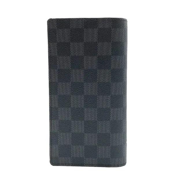 【Louis Vuitton 路易威登】Brazza系列 Damier 棋盤格帆布對開長夾(N62665-黑灰)