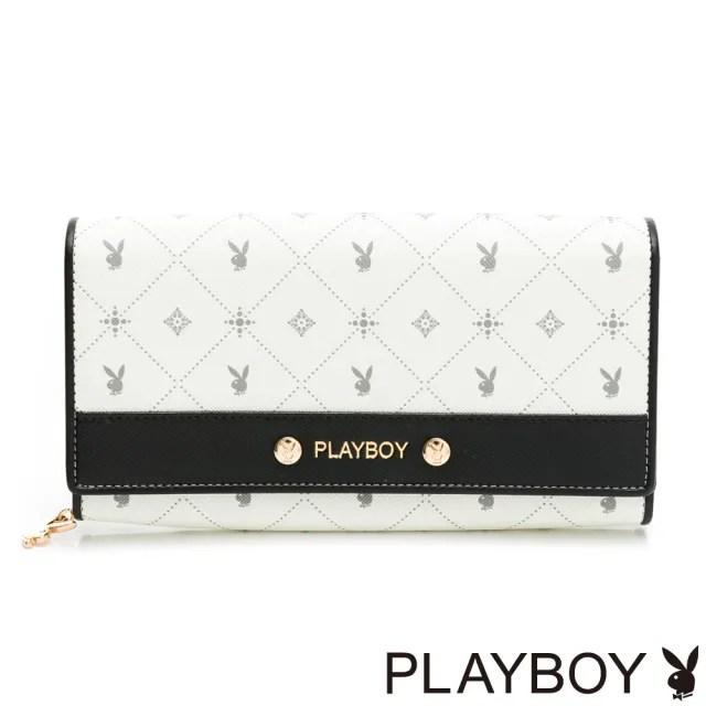 【PLAYBOY】翻蓋長夾  白色黑晶兔系列(米白色)
