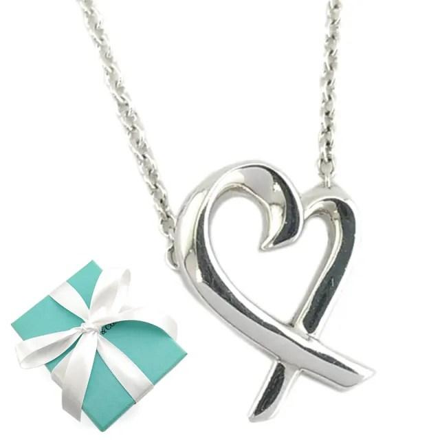 【Tiffany&Co. 蒂芙尼】經典Loving heart 925純銀墜飾項鏈