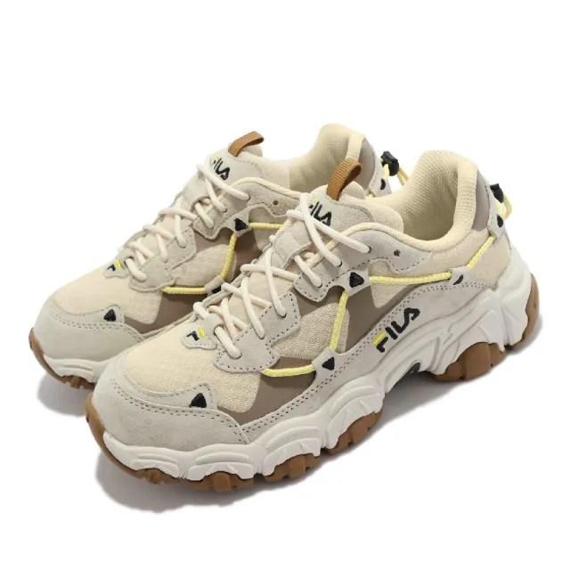 【FILA】休閒鞋 Fluid 復古越野跑鞋 女鞋 斐樂 貓爪鞋 戶外風格 老爹鞋 穿搭 淺褐(4C619V926)