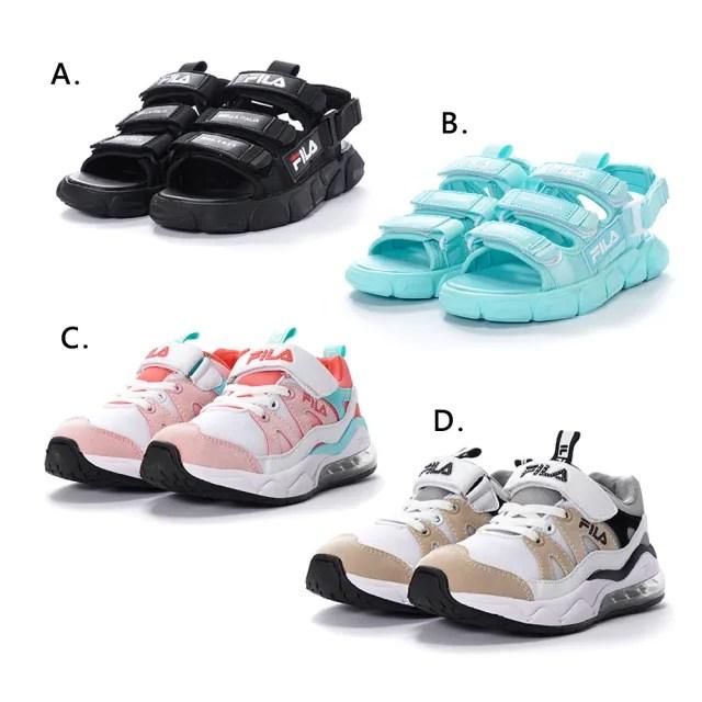 【FILA】KIDS 氣墊慢跑鞋 運動涼鞋 童鞋(3-J401V-155/3-J401V-190/3-S418V-001/3-S418V-331 四款任選)