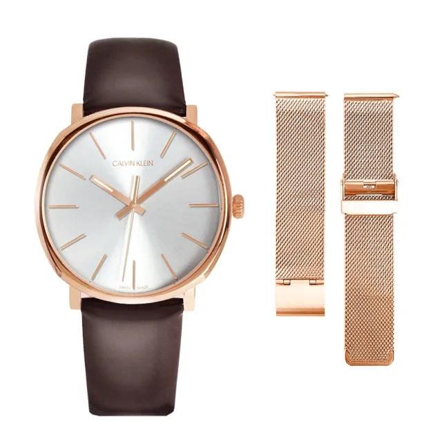 【Calvin Klein 凱文克萊】CK 玫瑰金殼 簡約白面 深咖啡色皮革錶帶【贈玫瑰金米蘭錶帶】(K8Q316G6)