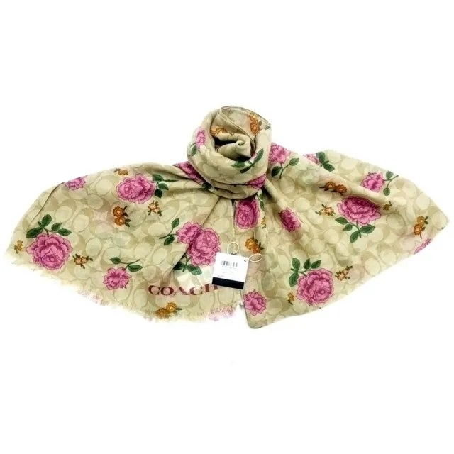 【COACH】粉紅玫瑰x卡其滿版LOGO大款圍巾
