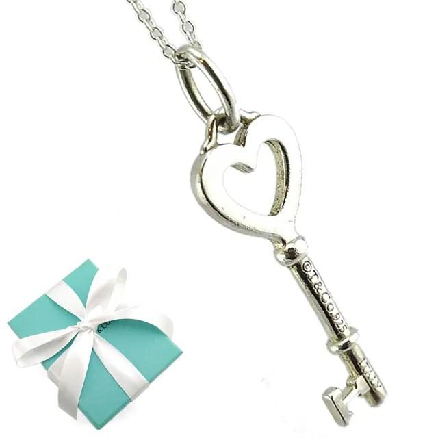 【Tiffany&Co. 蒂芙尼】KEY 愛心鑰匙吊飾925純銀項鍊