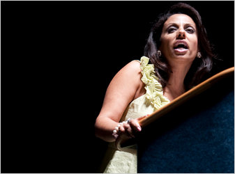 Brigitte Gabriel spoke to a Tea Party event in September. She says her views were shaped while growing up in Lebanon.
