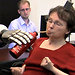Cathy Hutchinson, a quadriplegic study subject, used her thoughts to drink coffee from a bottle.