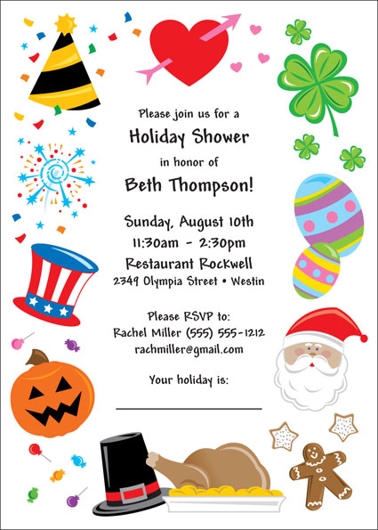 Holiday Themed Bridal Shower Invitations