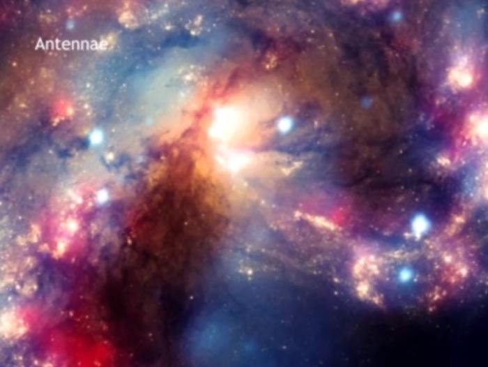 galáxias antenas, colisão, montagem