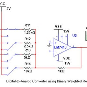 Simulation of a DAC using Binary Weighted Resistors using