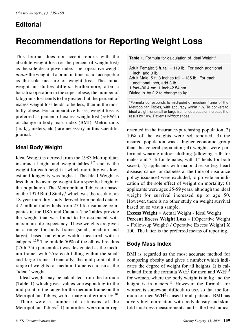 pdf recommendations for reporting weight loss