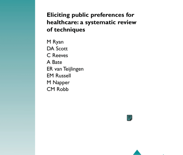 Pdf Eliciting Public Preferences For Healthcare A Systematic Review Of Techniques