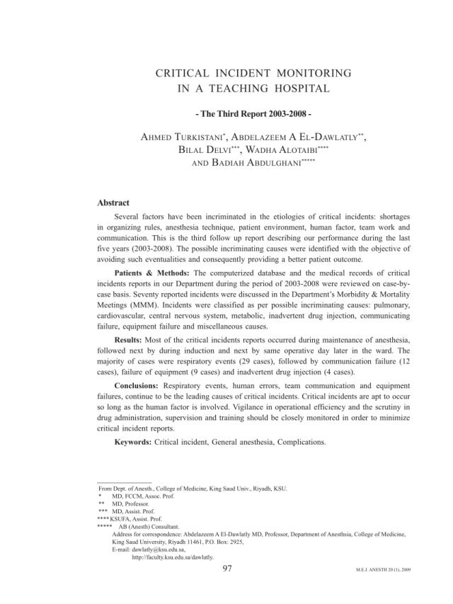 PDF) Critical incident reports
