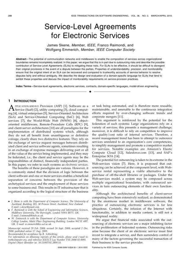 PDF) Service-Level Agreements for Electronic Services