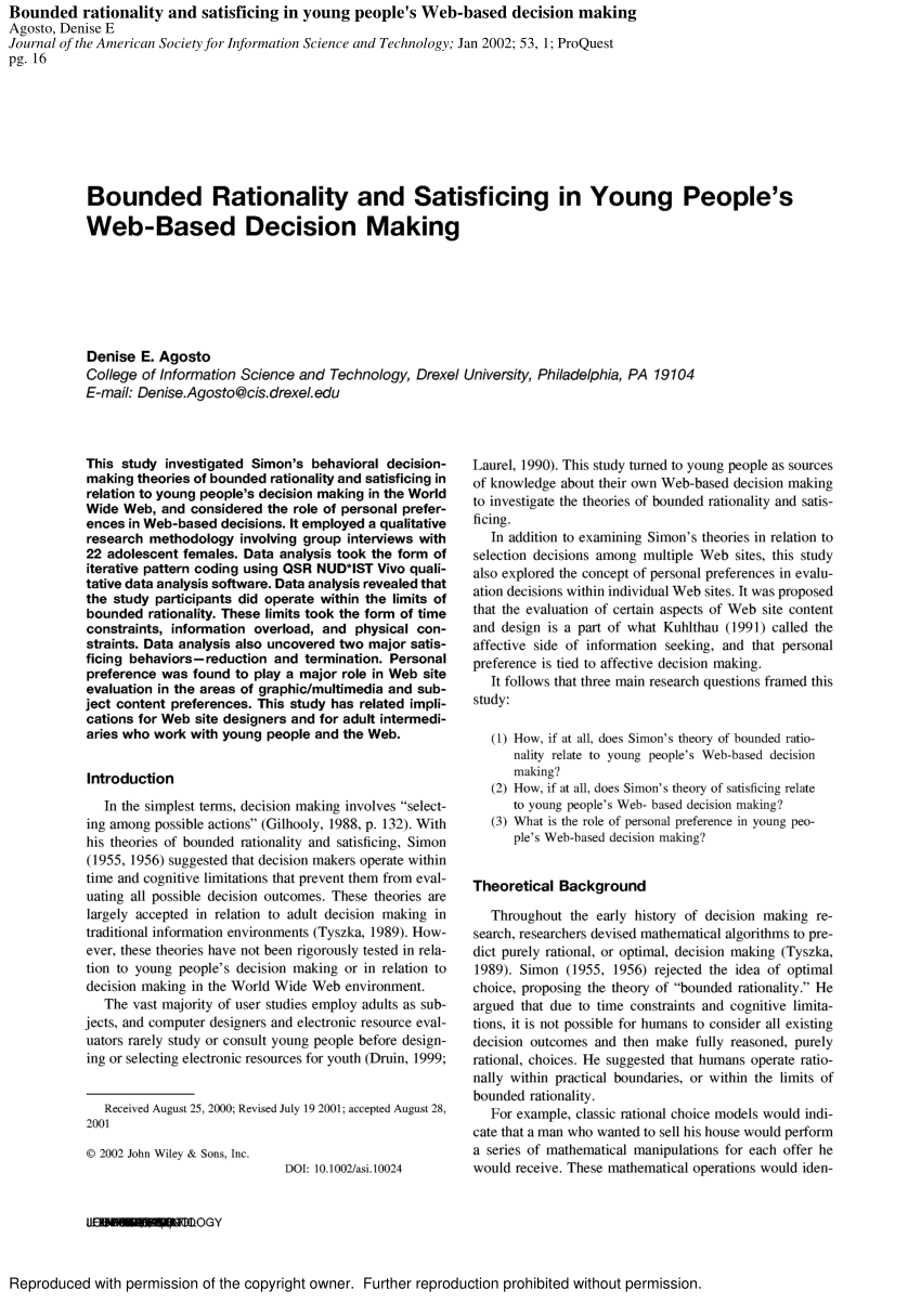 Pdf Bounded Rationality And Satisficing In Young People S Web Based Decision Making
