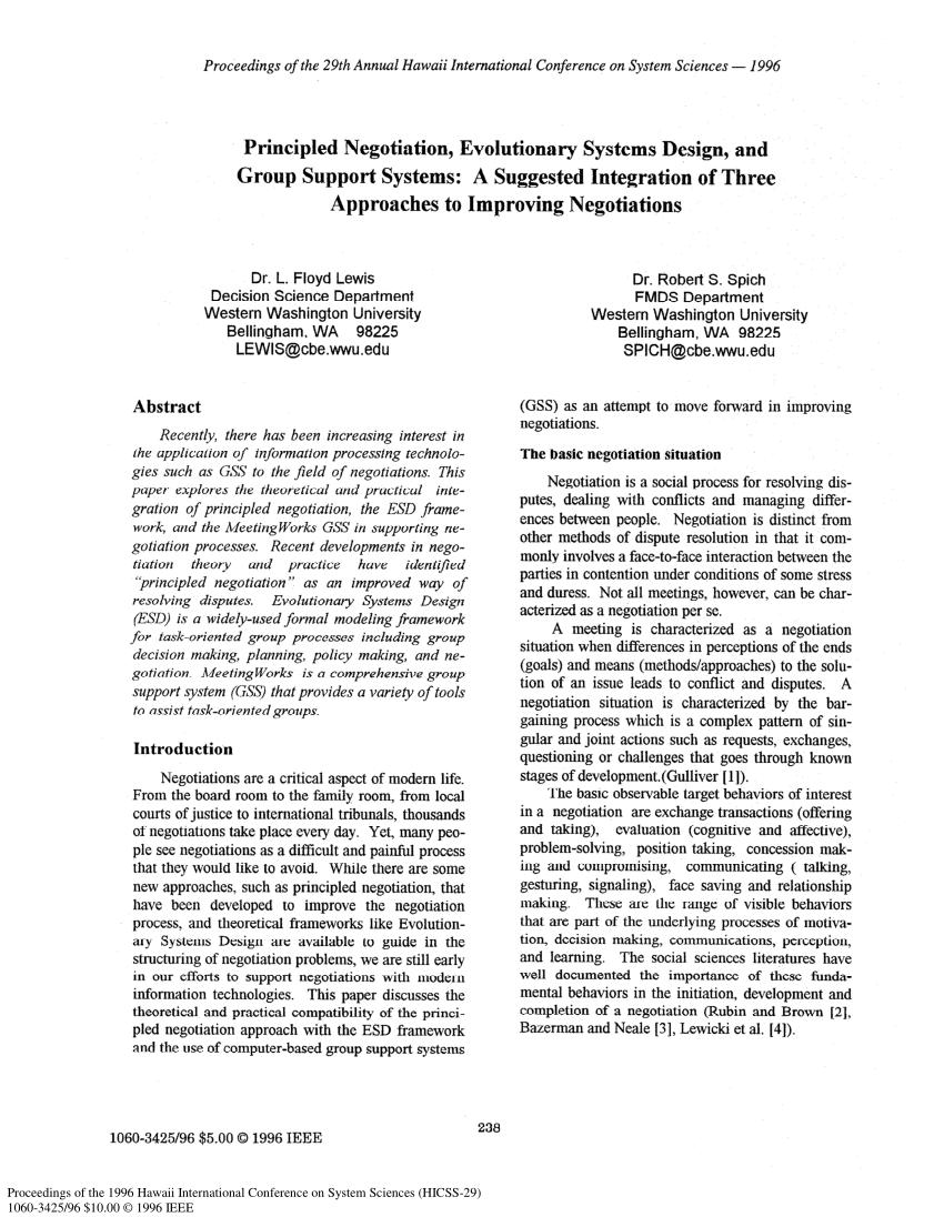 Principled Negotiation Evolutionary Systems Design