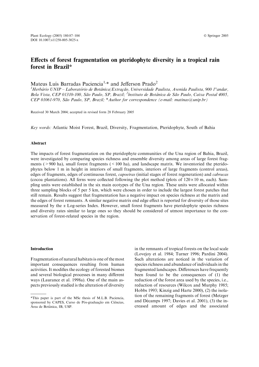 Pdf Effects Of Forest Fragmentation On Pteridophyte Diversity In A Tropical Rain Forest In Brazil