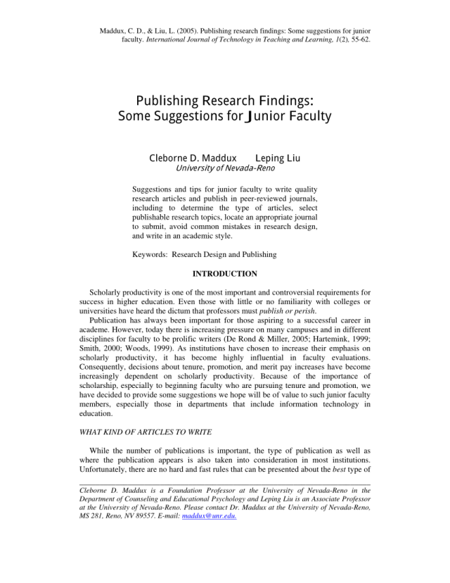 PDF) Publishing research findings: Some suggestions for junior faculty
