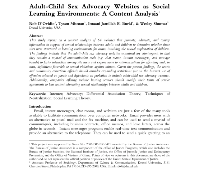Pdf Adult Child Sex Advocacy Websites As Social Learning Environments A Content Analysis