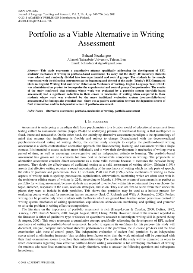 PDF) Portfolio as a Viable Alternative in Writing Assessment