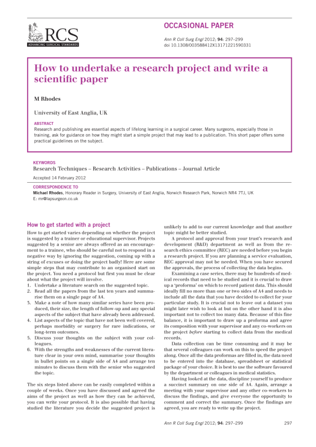 PDF) How to undertake a research project and write a scientific paper