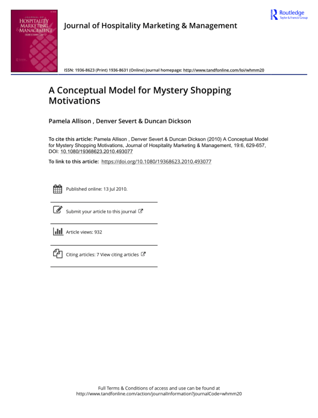 PDF) A Conceptual Model for Mystery Shopping Motivations