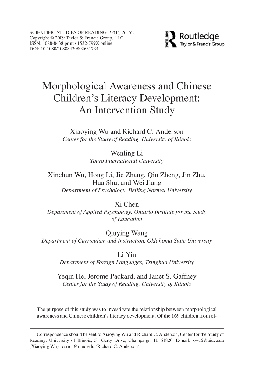 Morphological Awareness And Chinese Children S