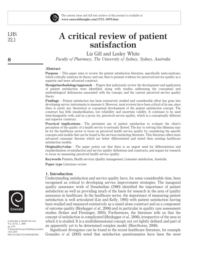 pdf) a critical review of patient satisfaction