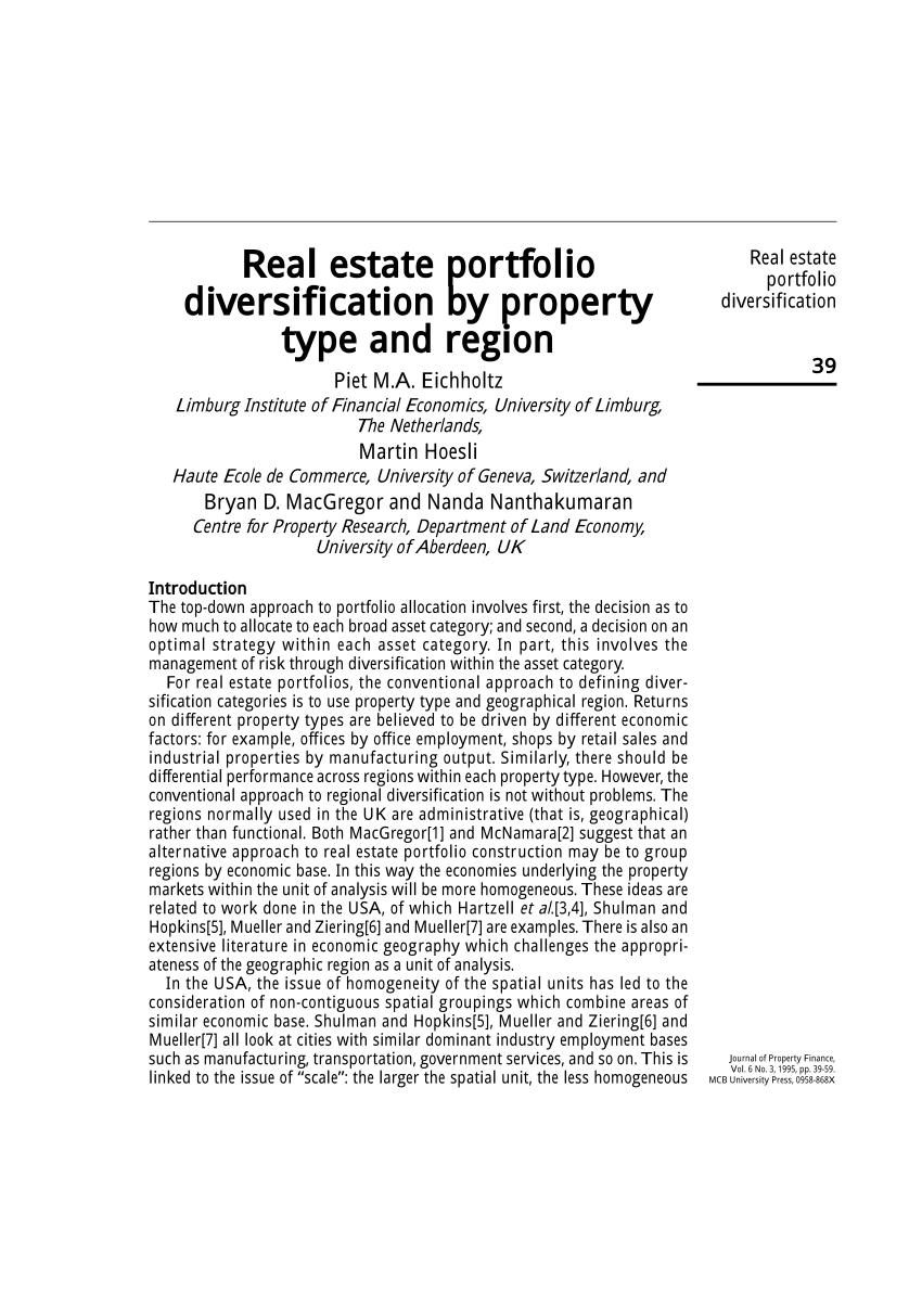 Pdf Real Estate Portfolio Diversification By Property Type