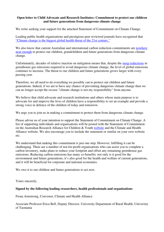 PDF) Open letter to Child Advocate and Research Institutes