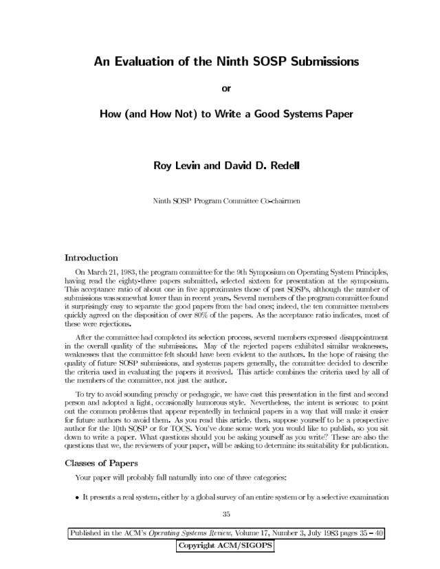 PDF) How (and How Not) to Write a Good Systems Paper