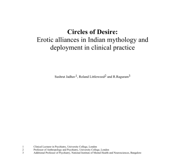 Pdf Circles Of Desire Erotic Alliances In Indian Mythology And Deployment In Clinical Practice