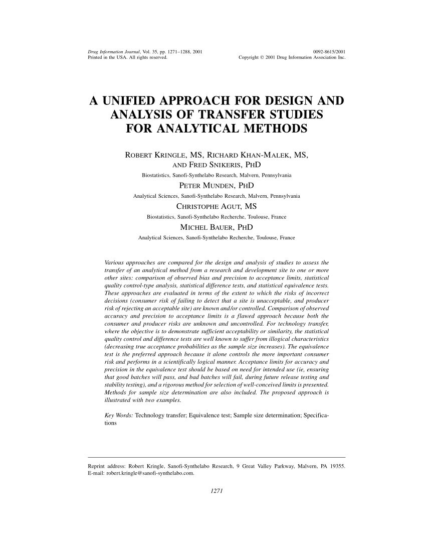 Pdf A Unified Approach For Design And Analysis Of Transfer Studies For Analytical Methods