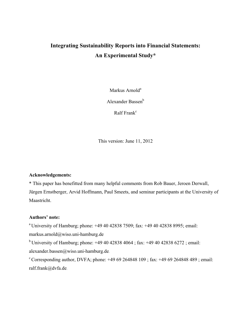 Pdf Integrating Sustainability Reports Into Financial Statements An Experimental Study