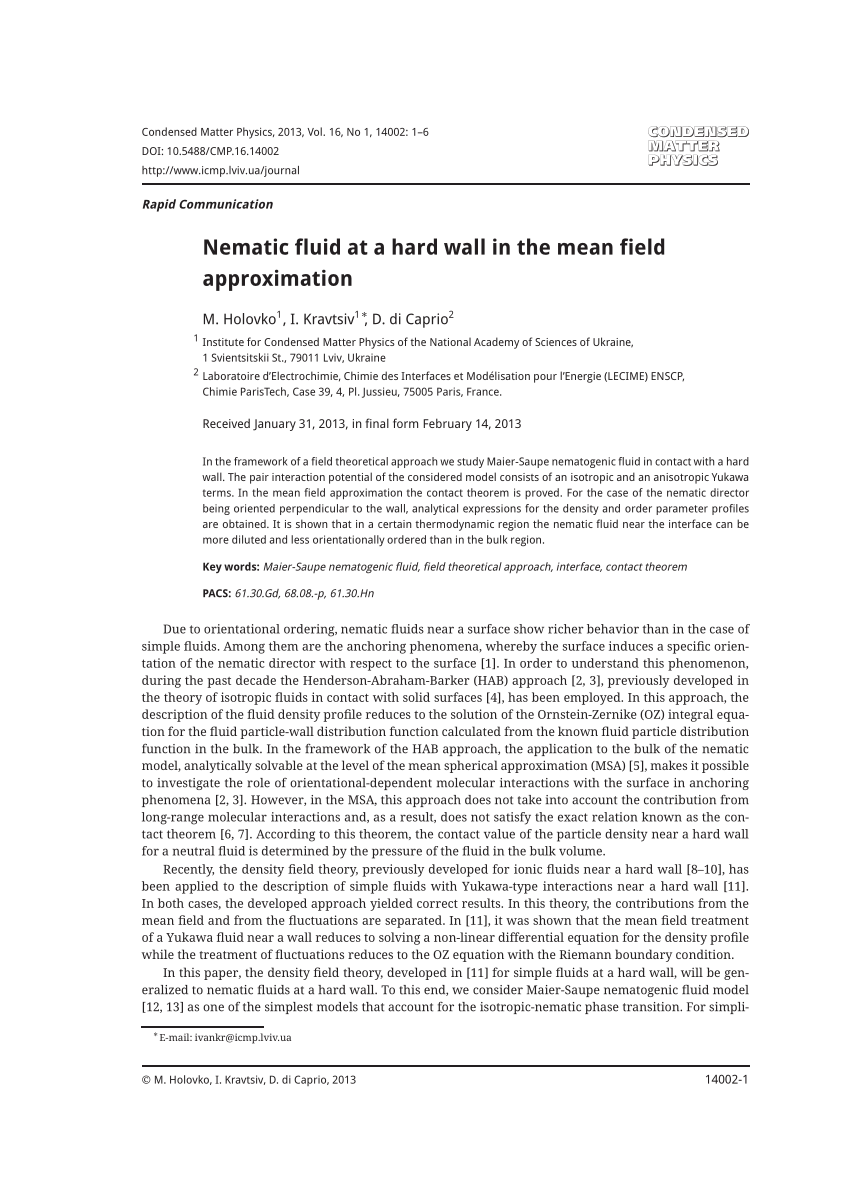 Pdf Nematic Fluid At A Hard Wall In The Mean Field Approximation