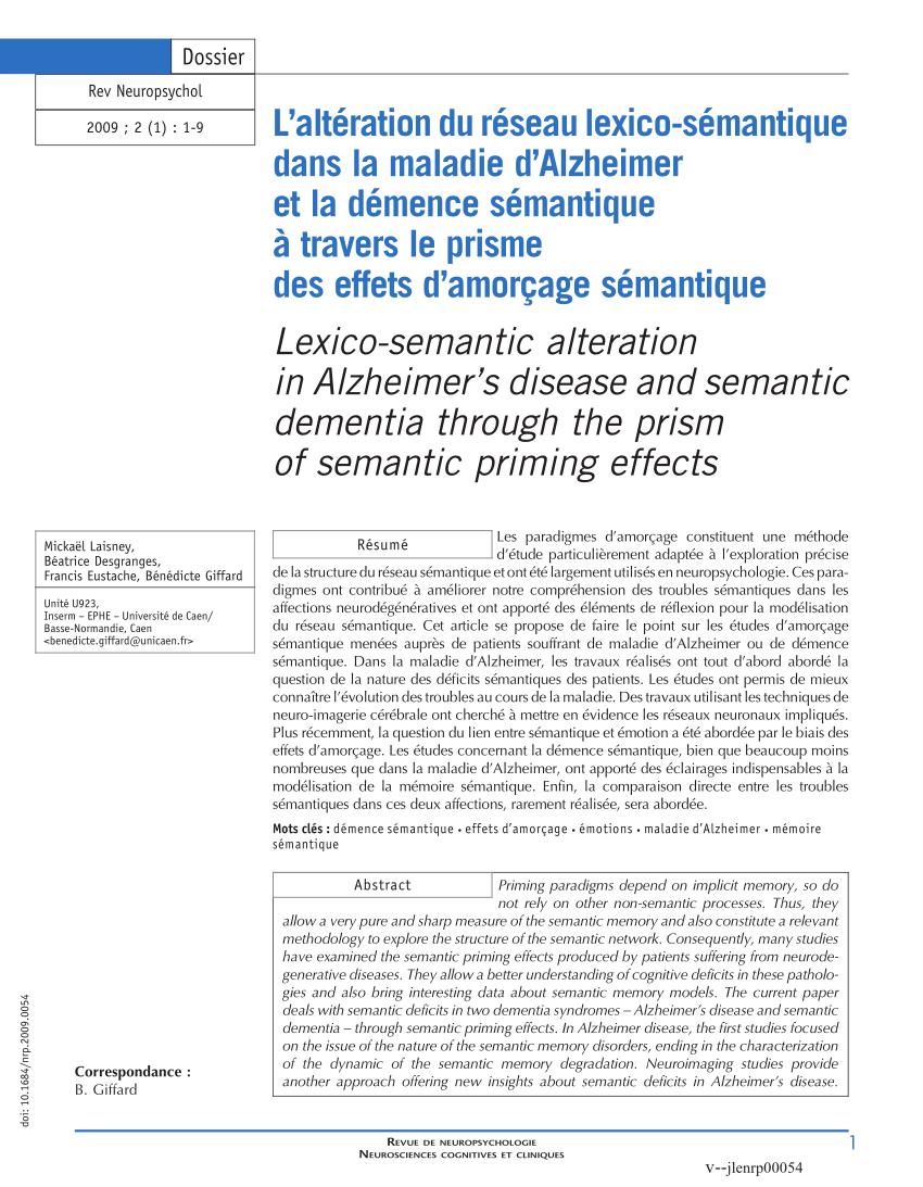 pdf l alteration du reseau lexico