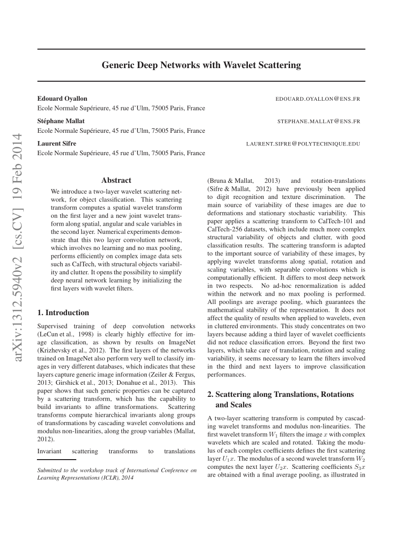 Pdf Generic Deep Networks With Wavelet Scattering