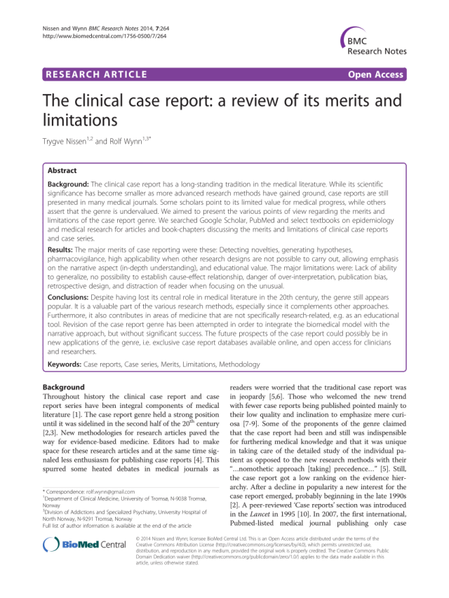 PDF) The clinical case report: A review of its merits and limitations