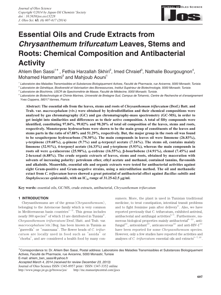 Pdf Essential Oils And Crude Extracts From Chrysanthemum Trifurcatum Leaves Stems And Roots Chemical Composition And Antibacterial Activity