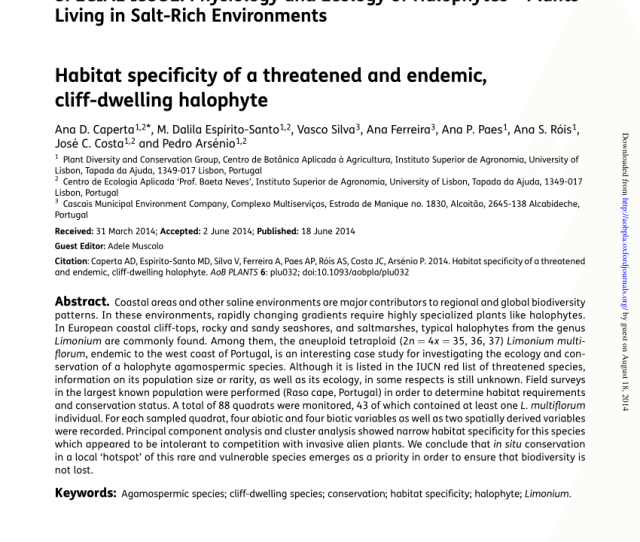 Pdf Habitat Specificity Of A Threatened And Endemic Cliff Dwelling Halophyte