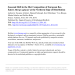 Pdf Seasonal Shift In The Diet Composition Of European Bee Eaters Merops Apiaster At The Northern Edge Of Distribution