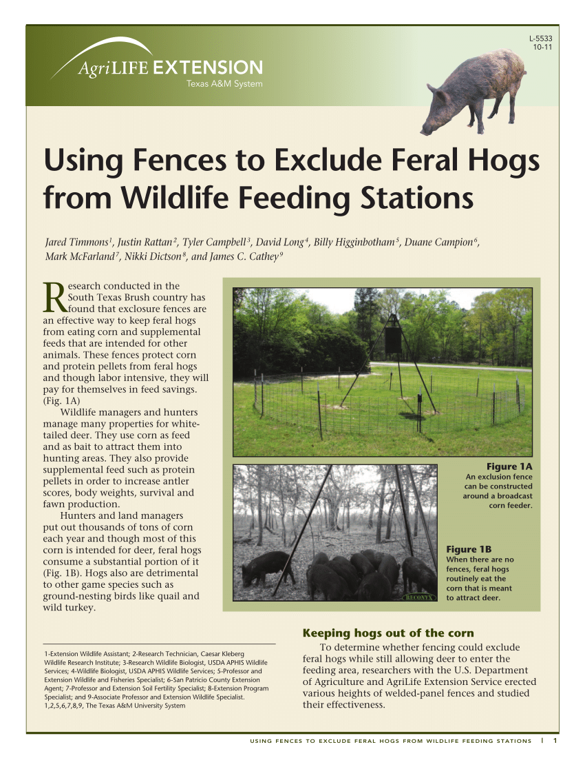 Pdf Using Fences To Exclude Feral Hogs From Wildlife Feeding Stations