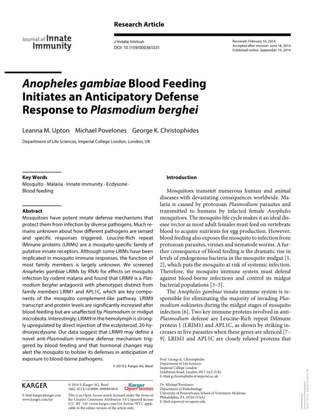 Pdf Anopheles Gambiae Blood Feeding Initiates An Anticipatory Defense Response To Plasmodium Berghei